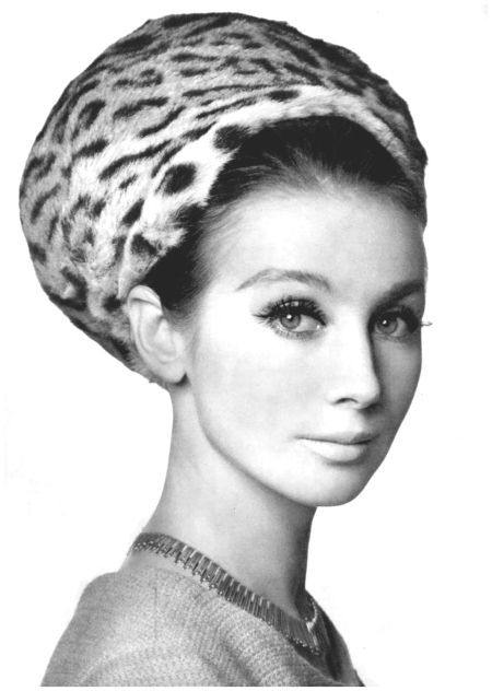 Sophy Derly in ocelot fur cap by Jacques Heim-Svend, photo by Pottier, 1961