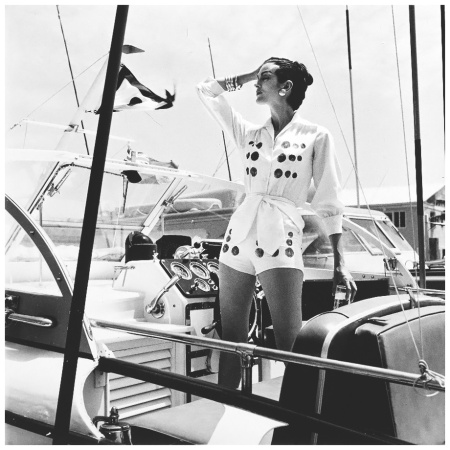 Carmen dell'Orefice, showing a sunny disposition to yachting, Vogue, July, 1959