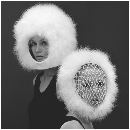 Celia Hammond and Patty Boyd  Capsule Line Feathered Helmets, 1960 Photo John French