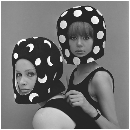 Celia Hammond and Patty Boyd in Edward Mann Dot and Moon Helmets 1965 Photo John French