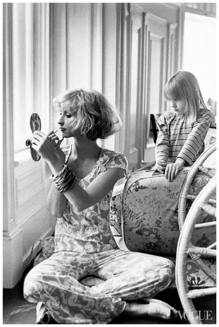 Chris Royer in pajamas and cap-sleeve T-shirt by Lilly Pulitzer Deborah Turbeville, Vogue, June 1975