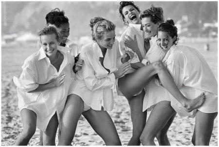 Estelle Lefébure, Karen Alexander, Rachel Williams, Linda Evangelista, Tatjana Patitz, and Christy Turlington Photo Peter Lindbergh, Vogue, August 1988