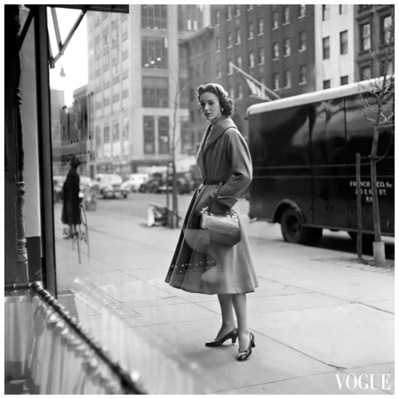 Frances Mclaughlin-Gill  New York streetscape, Mrs. Amory Carhart pauses in front of a storefront VOGUE 1954