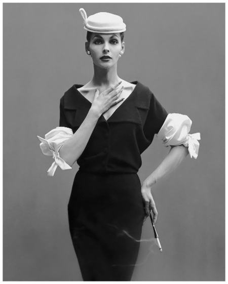 Georgia Hamilton in dress by Balenciaga, photo by Richard Avedon, Harper's Bazaar, 1953