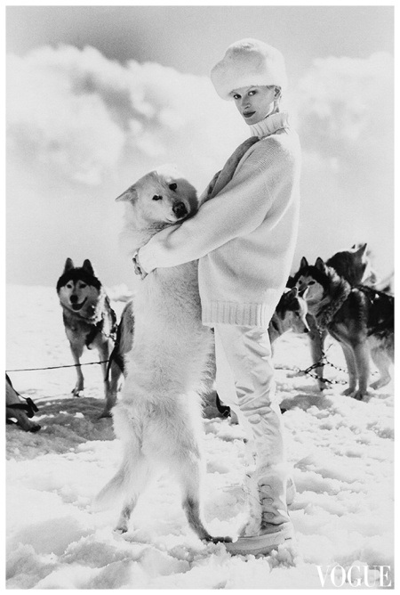 Kristen McMenamy in Vogue, November 1996 ('Snow Whites'). Photo Arthur Elgort.