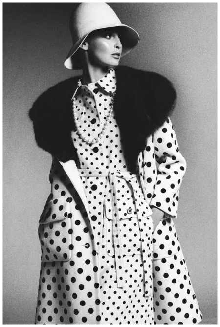 Model Wearing James Galanos Dress and Coat Bob Stone 1972