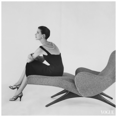 Modelin Almanac Dress  Vogue - April 1956 Photo Karen Radkai