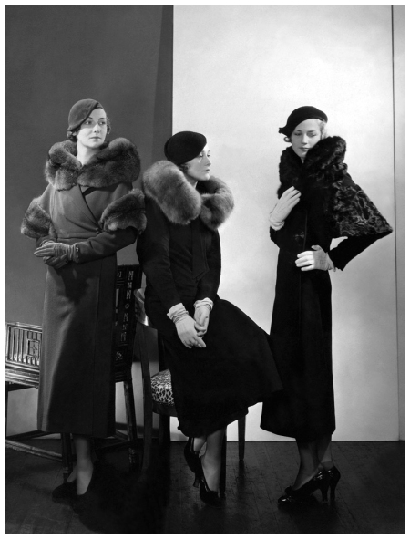 Models wearing (from left) wool coat with fur collar and armbands; wool coat with blue fox collar by Lanvin; and wool coat with caracal collar and sleeve trimming by Mainbocher  1932 - Edward Steichen