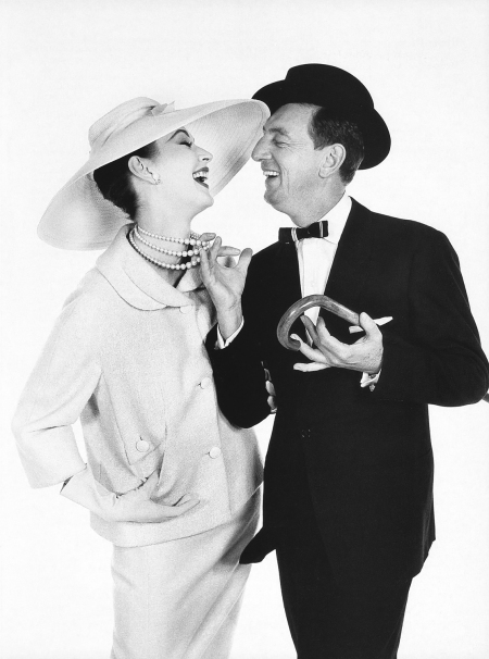Richard Avedon, Dovima in a Hattie Carnegie suit and hat, with actor Ray Bolger, Harper's Bazaar, 1957 b