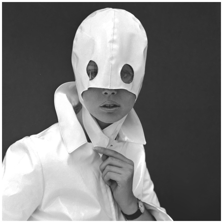 White Patent Leather Helmet with Eye Holes 1960s Photo John French