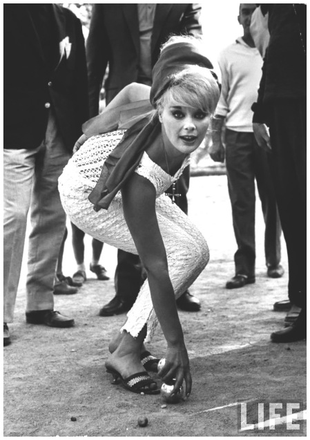 Actress Elke Sommer playing petanque (French bowling) at the Cannes Film Festiva 1962 Paul Schutzer