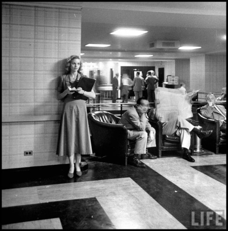 Actress Eva Maria Saint (L) job hunting Cornell Capa 1949
