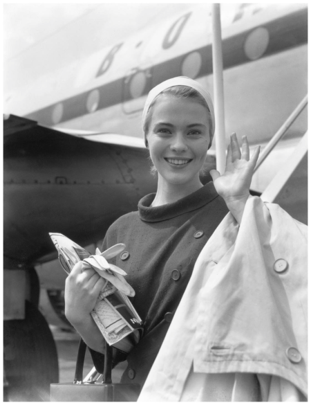 American actress Jean Seberg arrives at London Airport in June 1957, a week before attending the premiere of Otto Premiger's film Saint Joan in which she  starred