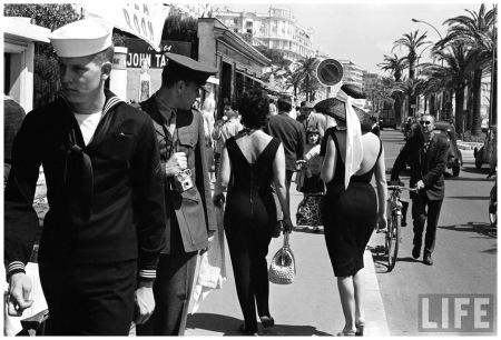 American serviceman admiring two female pedestrians at the Cannes Film Festival 1962 Paul Schutzer
