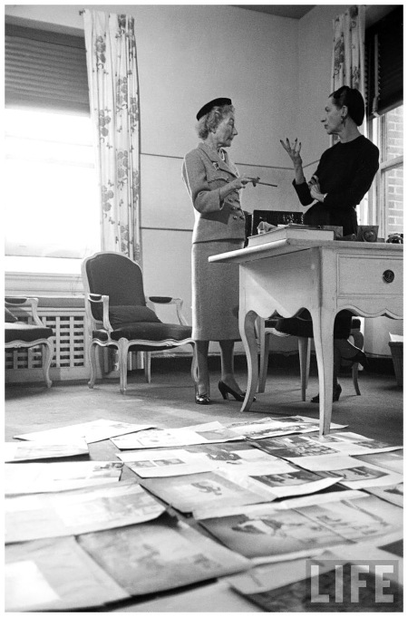 (L-R) Editor Carmel Snow and Fashion Editor Diana Vreeland reviewing magazine layouts in HARPER'S BAZAAR office 1952 Walter Sanders