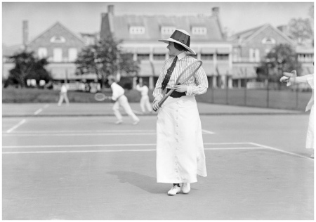 Miss Frances Lippett. Playing in tennis tournament, 1913