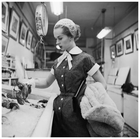Movie Star Tippi Hedren in Fish Market 1954 Photo Genevieve Naylor b