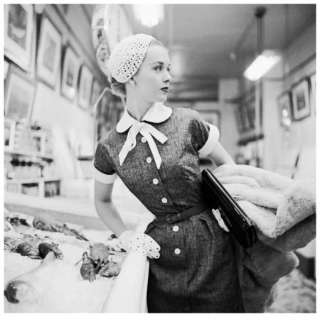 Movie Star Tippi Hedren in Fish Market 1954 Photo Genevieve Naylor