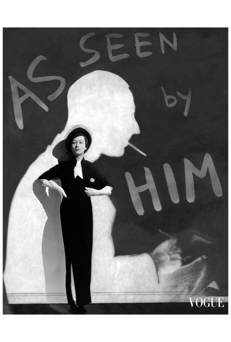 Toto Koopman, 1933 George Hoyningen-Huene Silhouette of designer John McMullin in background of Mademoiselle Koopman modeling dress by him