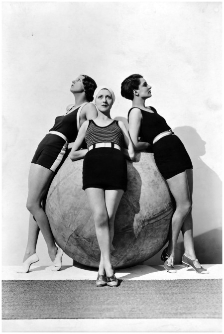 Models wearing swimsuits by Jean d'Ahetze (left and center) and Jane Régny (right), Photographer Baron George Hoyningen-Huene April 1930