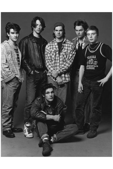 Rodney Harvey, Keanu Reeves, Gus Van Sant, River Phoenix, Shaun Jordan and Michael Parker Photo By Bruce Weber 1991