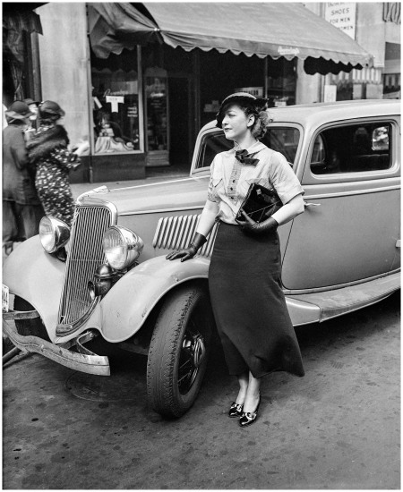 1935; the place somewhere in Washington, D.C.; the lady with the Ford unknown, but notable enough to have been in the Harris & Ewing archive