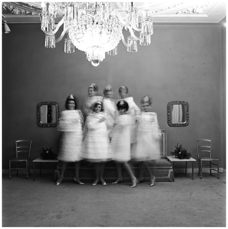 1963 models in the salon of fashion designer Dick Holthaus Photo Paul Huf b