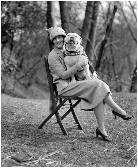 April 14, 1925. Washington, D.C. %22Miss Mae Esterly with Sgt. Jiggs.%22 National Photo Company Collection
