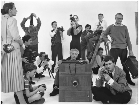 Group portrait photographers, in 1958, with Maria Austria, Paul Huf, Henk Jonker, Carel Blazer and Kees Schere Photo Paul Huf