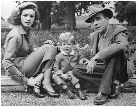 Humphrey Bogart and Lauren Bacall with Their Son A snappily dressed family with Bogart and their son Steve in 1952