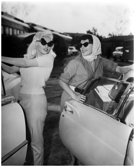 Jayne Mansfield and Joan Collins 1957 during the filming of The Wayward Bus Courtesy Everett Collection