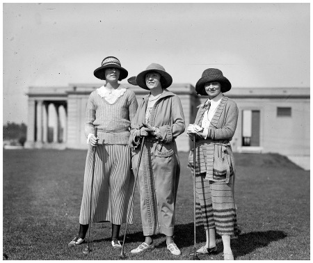 May 4, 1923. %22Mrs. Virginia Riter, Mrs. E.M. Allison, Mrs. Helen Rutan.%22 4x5 glass negative, National Photo Company Collection