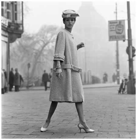 Model Tanja Trijbels in couture jacket with hat Max Heymans, Leidseplein 1956 Photo Hans Dukkers