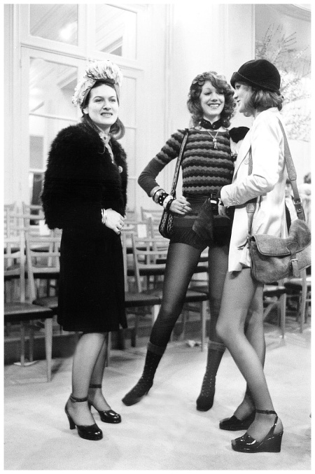 Paloma Picasso, Marisa Berenson, Loulou de La Falaise at presentation of Yves Saint-Laurent new collection january 29, 1971. (Photo by RDA:Getty Images)