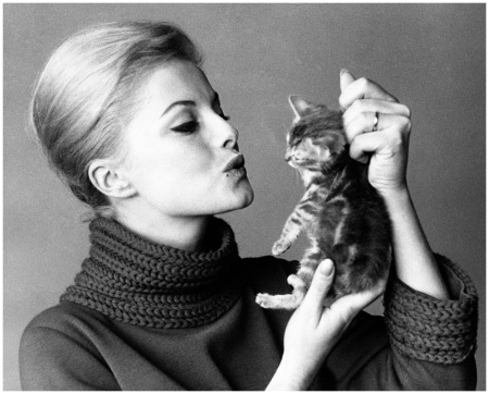 Virna Lisi In a photo from 1961, the Italian actress pretended to kiss a kitten. Okay, we'll stop making the same joke Getty Archive