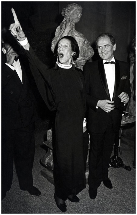 Diana Vreeland and Pierre Cardin in the evening %22La Belle Epoque%22, December 6, 1982 Photo Ron Galella