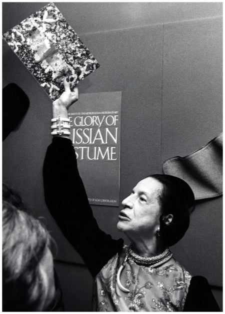 Diana Vreeland at the exhibition %22The Glory of Russian Costume%22, December 6, 1976 Photo Ron Galella