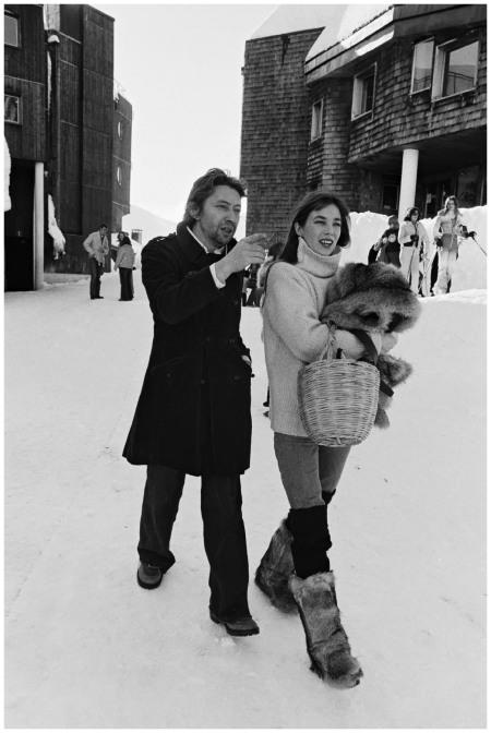 Jane Birkin, Serge Gainsbourg at the Avoriaz film festival in Avoriaz , France on January 16th, 1976 Michel Ginfray
