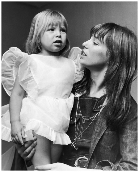 Jane Birkin with her daughter Kate (whose father is composer John Barry), at the Children's Dancing Matinee at the Theatre Royal Adelphi, The Strand, 3rd July 1970 Photo Frank Barratt Getty