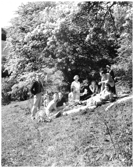Picnicking in Cecil Beaton's garden at Ashcombe, the Honourable David and Honourable Anthony Herbert, Lady Bridget Parsons, Diana Cavendish, Lady Caroline Paget, Teresa Jungman, Tilly Losch, Mrs. Shelvin Smith, and Cecil Beaton Photo 1935