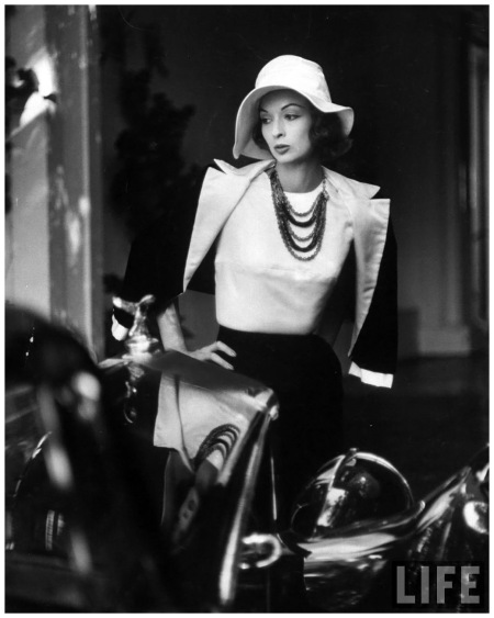 Slouch hat in Garbo tradition made of white satin for cocktail outfit Hollywood 1952 Photo Gordon Parks