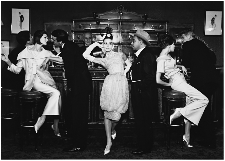 Audrey Hepburn and Art Buchwald with Simone, Barbara Mullen, Frederick Eberstadt and Dr. Reginald Kernan, Evening Dresses by Balmain, Dior, Patou, Maxim's, Paris, August, 1959 Photo Richard Avedon