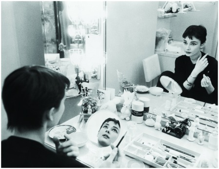 "Audrey Hepburn is her dressing room during the filming of ""Sabrina""1954"