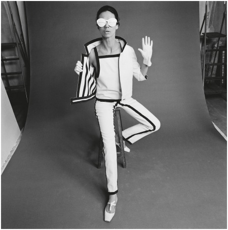 Gaberdine trouser suit, with gloves, shoes and sunglasses designed by Andre Courreges, 1965  - Photo John French