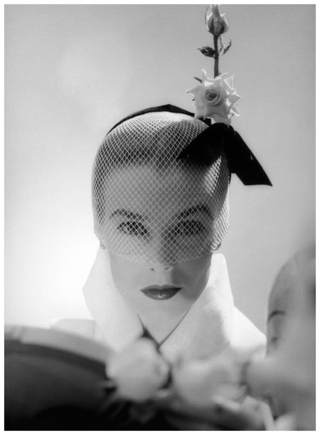 Lillian Marcuson is wearing veiled hat by Lily Daché, photo by Milton Greene, New York City, 1951
