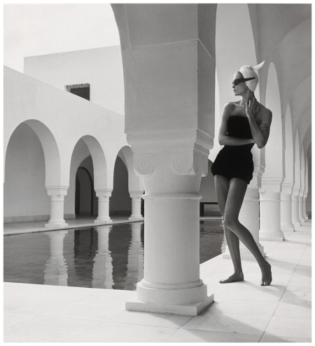 Model Jean Patchett In Bathing Suit By Flexees, Granada, Spain, Published Harper Bazaar Photo Louise Dahl-Wolfe