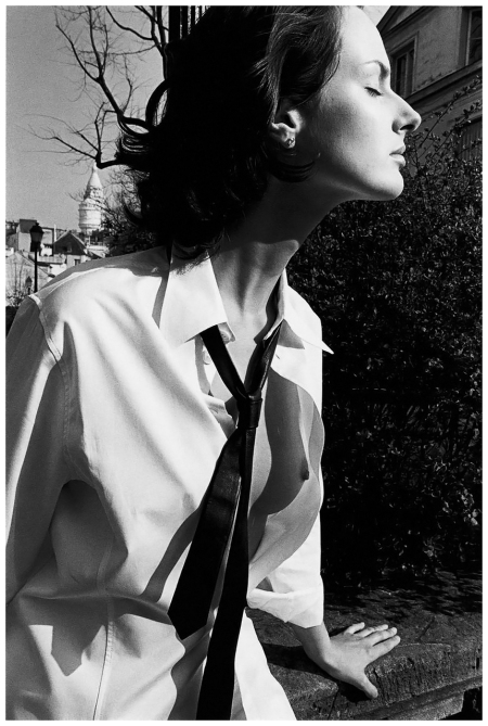 Phoebe O'Brien in an Equipment shirt and an Agnès B Homme tie, Paris, Elle US, 1995