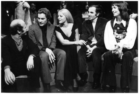 Virna Lisi with Beart Guy, Helmut Berger, Charles Aznavour and Elsa Martinelli 1970 ca