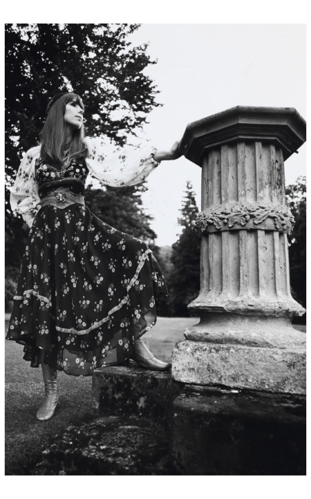 A model wear a Thea Porter floral cotton-voile gypsy dress in 1969 Photo Willie Christie