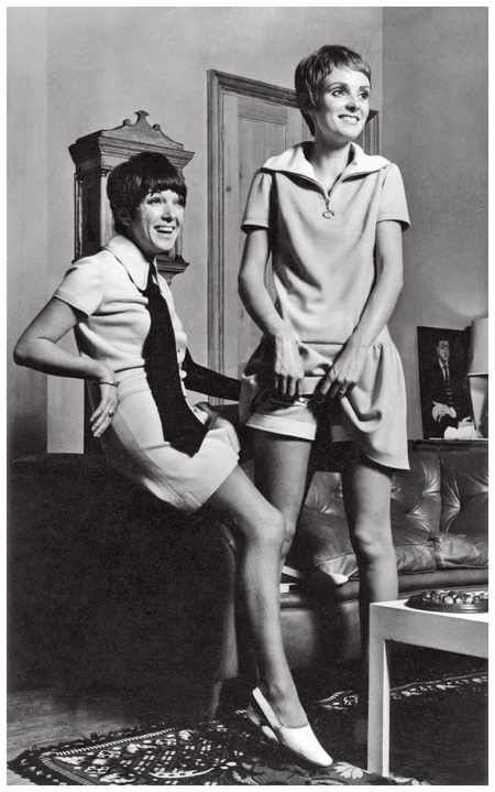 Coddington, right, test-drives Mary Quant's 1966 mini-dress and shorts with the designer in London. photo Eric Swayne
